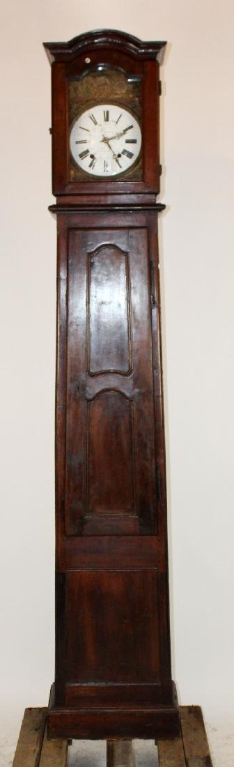French Provincial tall case clock in walnut
