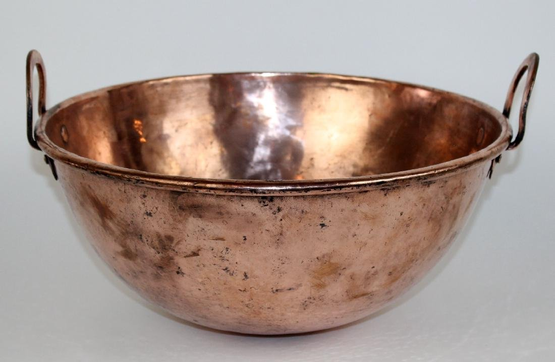 Large French copper bowl with handles