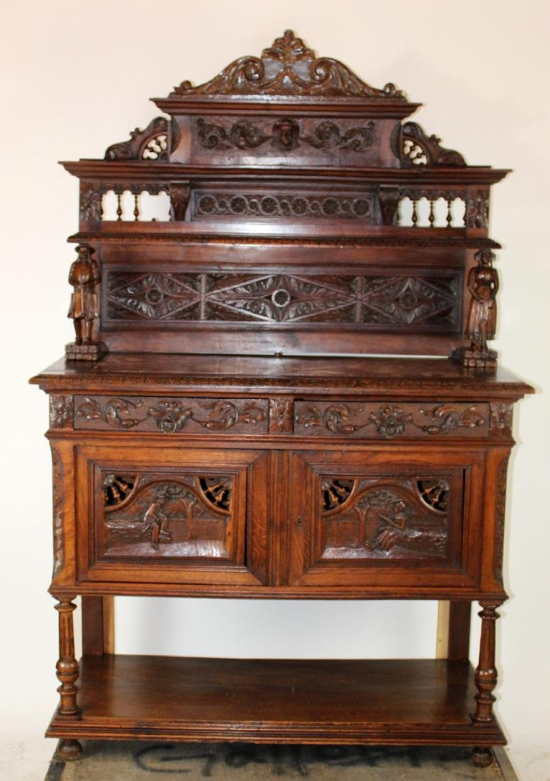 French carved oak server from Brittany