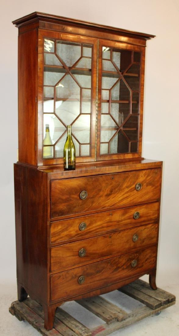 Hepplewhite mahogany bureau bookcase