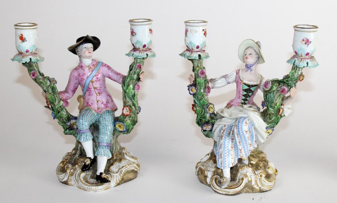 Pair of Meissen porcelain figural candelabra