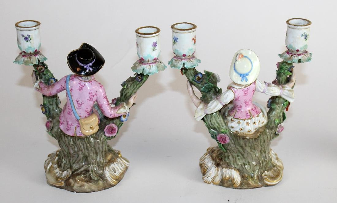 Pair of Meissen porcelain figural candelabra - 3