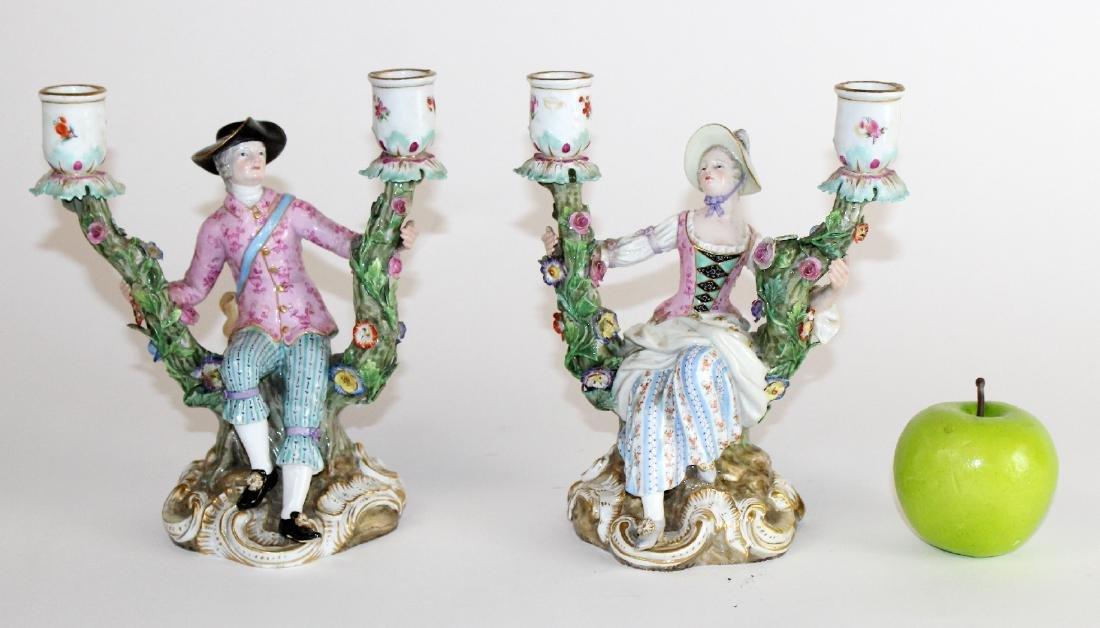 Pair of Meissen porcelain figural candelabra - 5