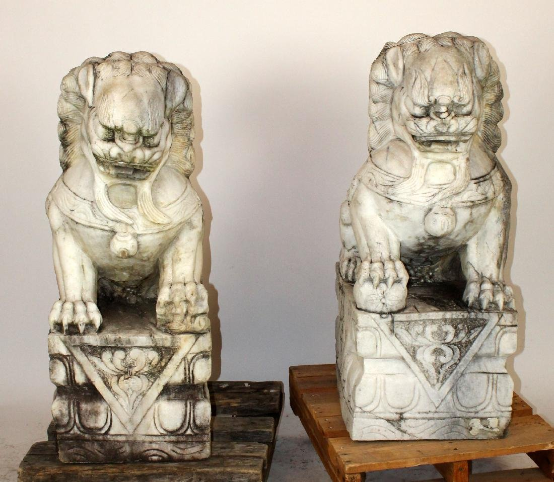 Pair Chinese carved marble foo lions - 2