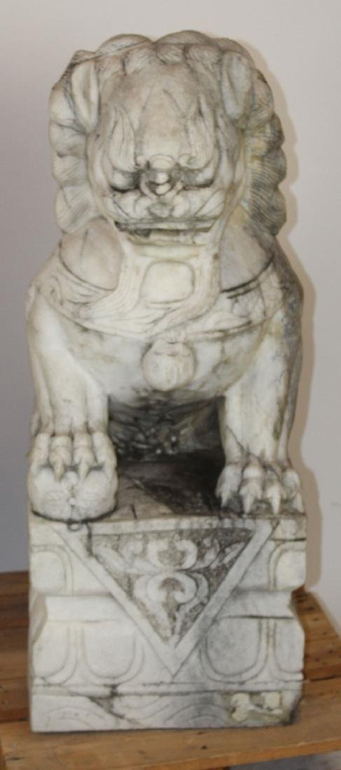 Pair Chinese carved marble foo lions - 4