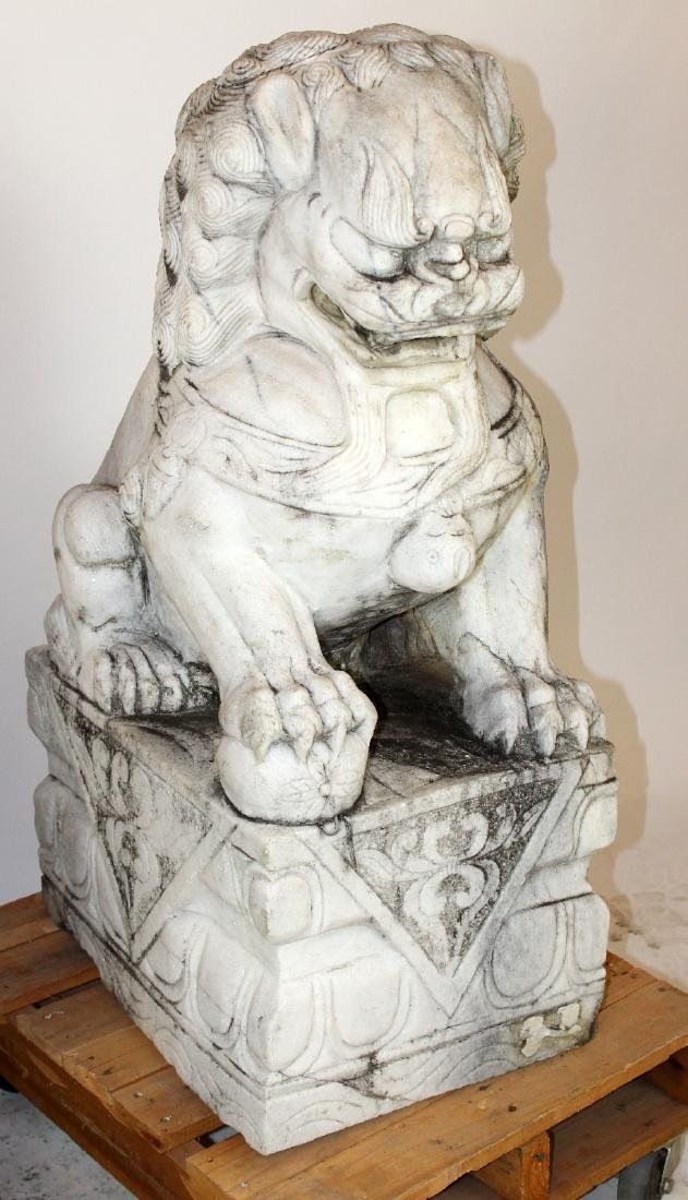 Pair Chinese carved marble foo lions - 5