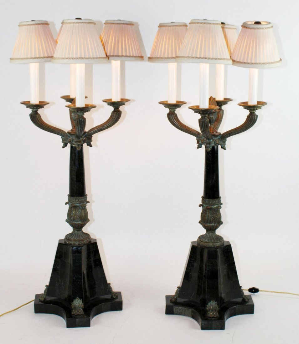 Pair of Maitland Smith veneered marble and bronze lamps