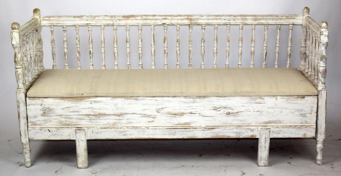 Swedish Gustavian painted pine bench