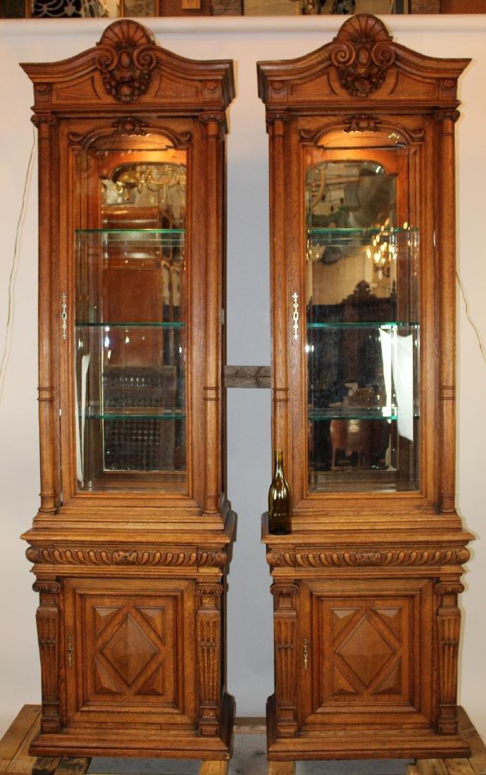 Pair of French Napoleon III oak vitrines
