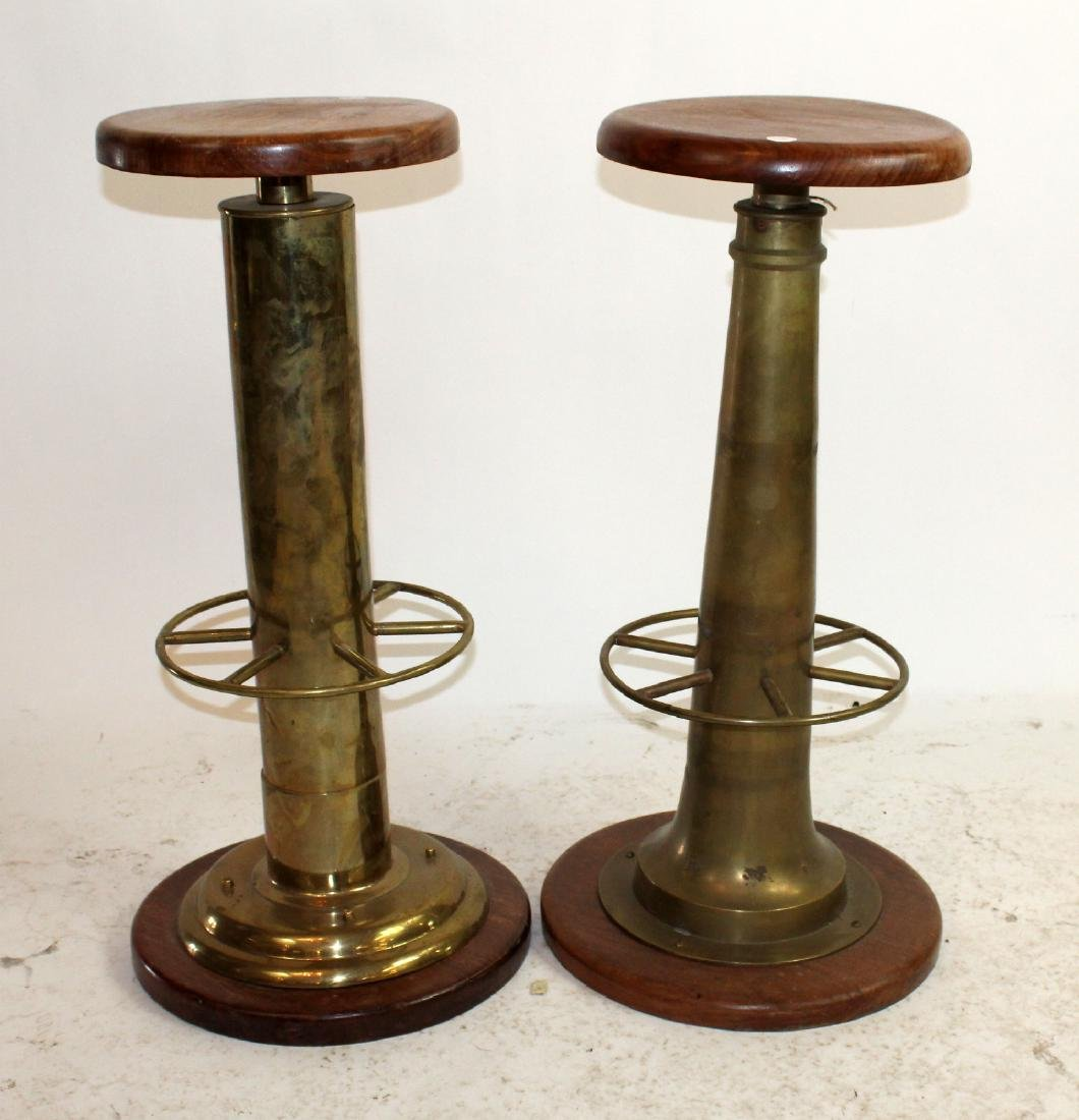 Pair of bronze and wood nautical bar stools