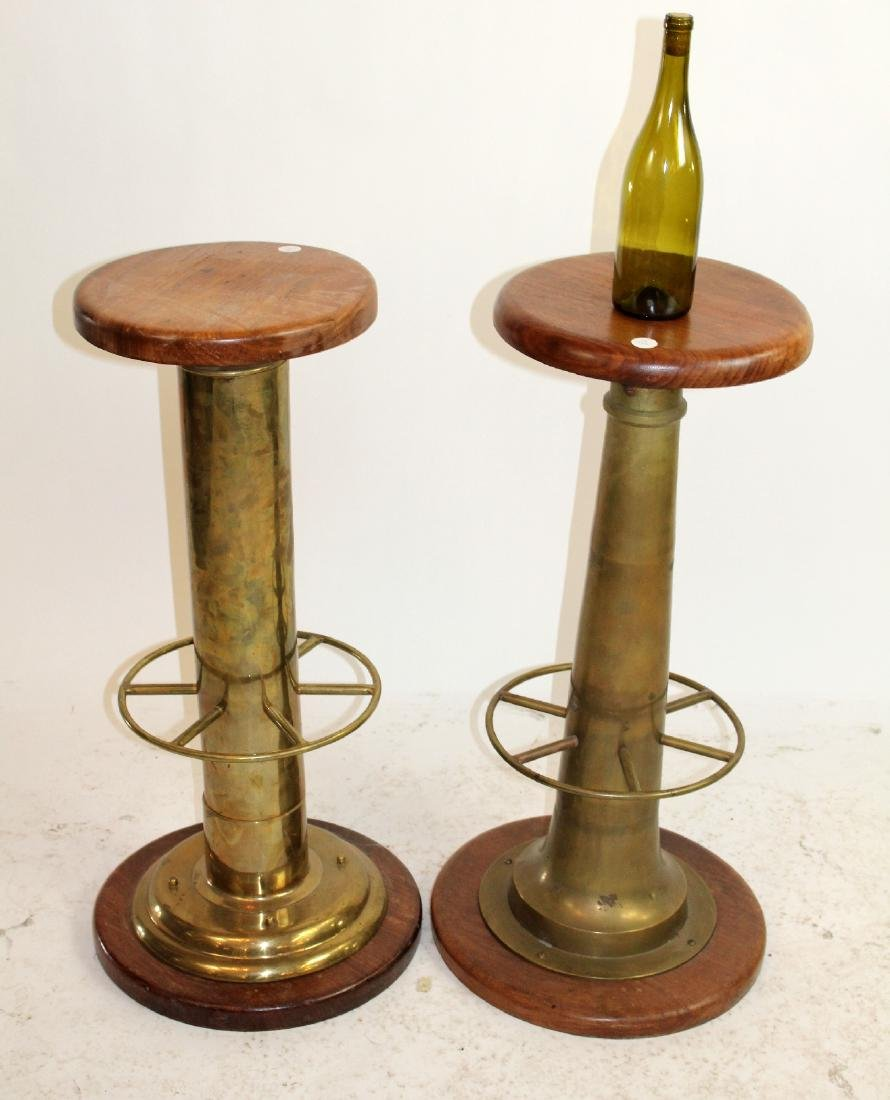 Pair of bronze and wood nautical bar stools - 3