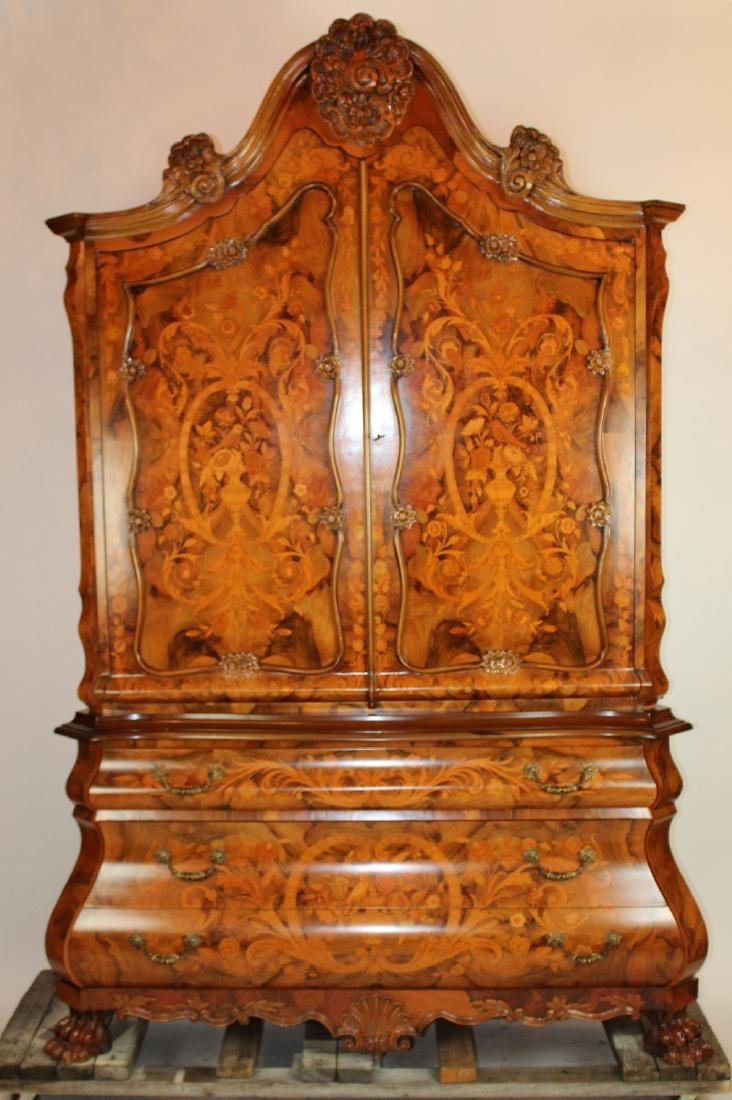 Floral marquetry cabinet on bombe commode