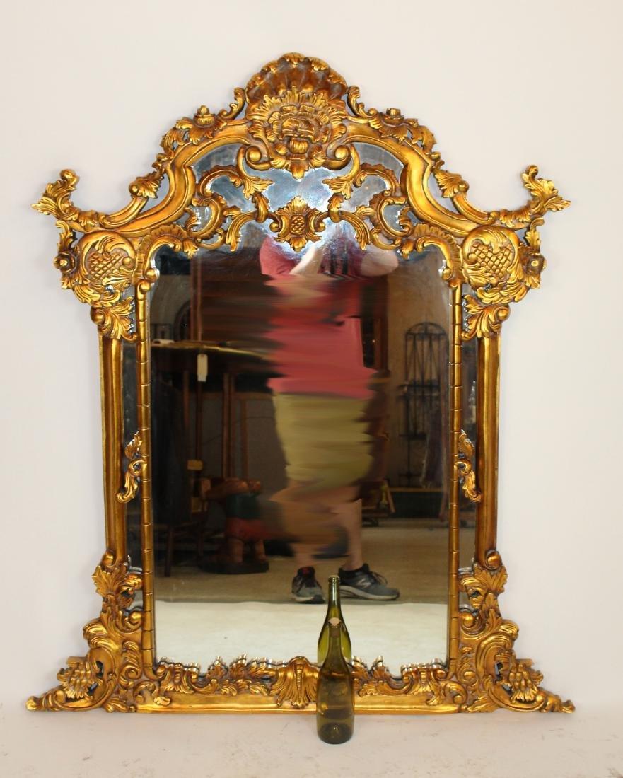 Rococo style gilt framed mirror - 3