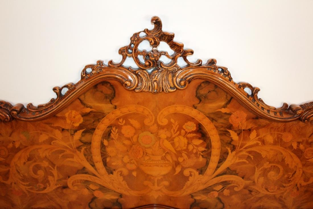 Italian inspired Rococo style marquetry bed - 4