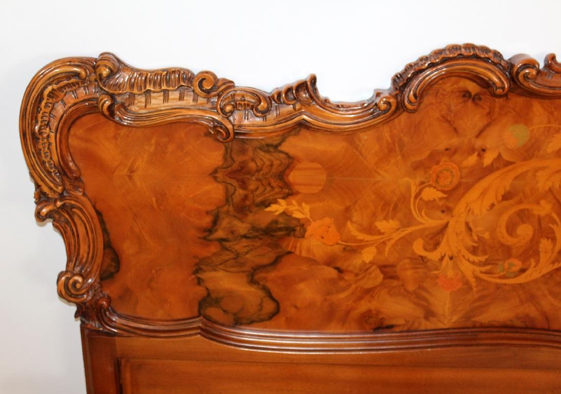Italian inspired Rococo style marquetry bed - 5