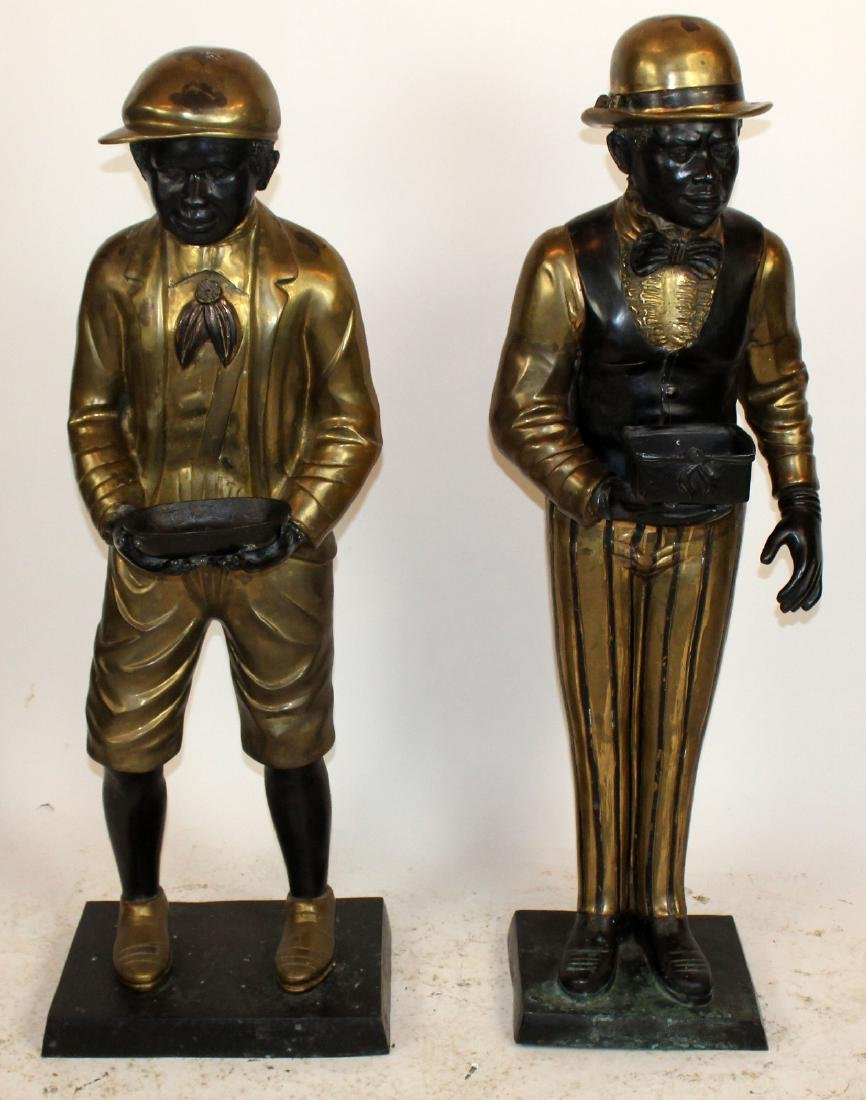 Lot of 2 bronze figural butler statues