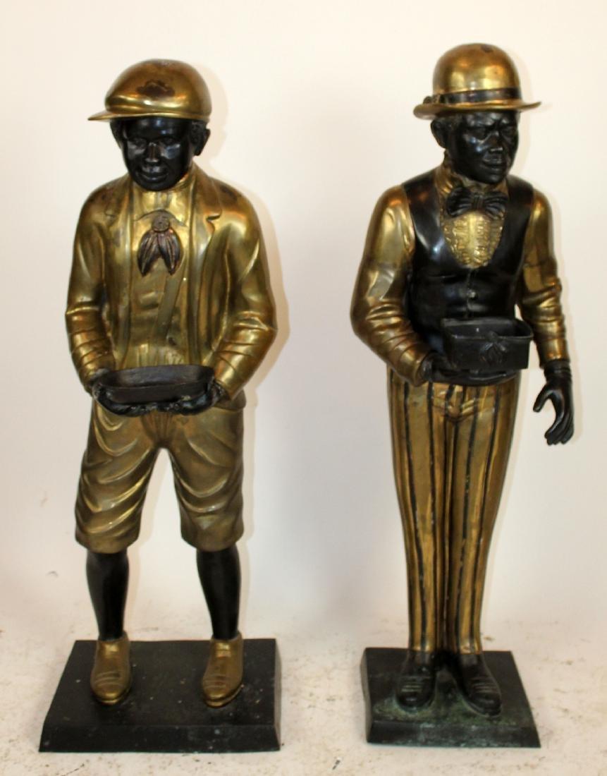 Lot of 2 bronze figural butler statues - 2