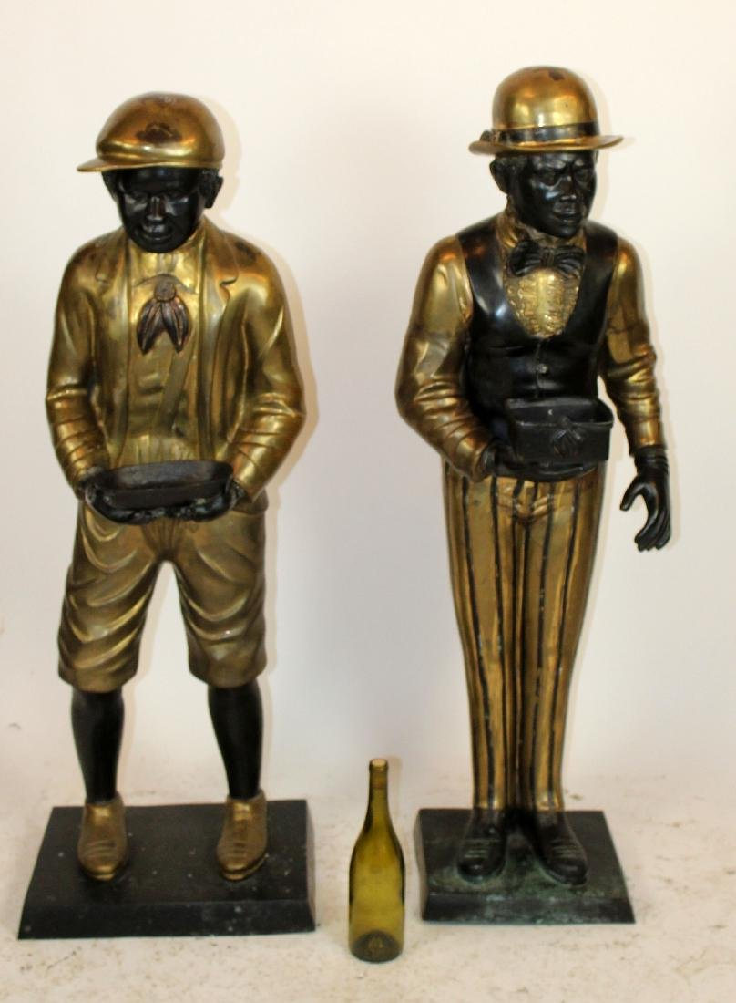 Lot of 2 bronze figural butler statues - 3