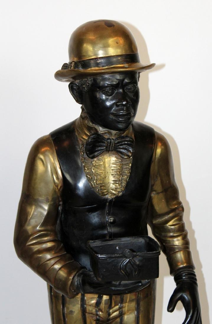 Lot of 2 bronze figural butler statues - 4
