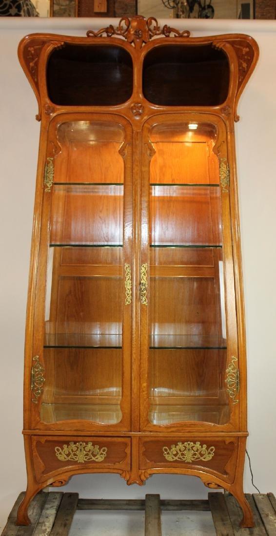 French Art Nouveau 2 door vitrine in oak