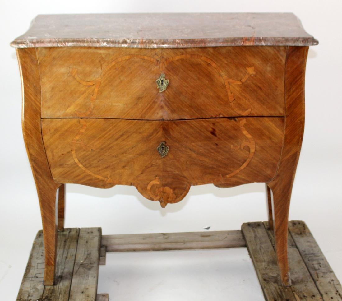 Louis XV 2 drawer bombe marquetry commode