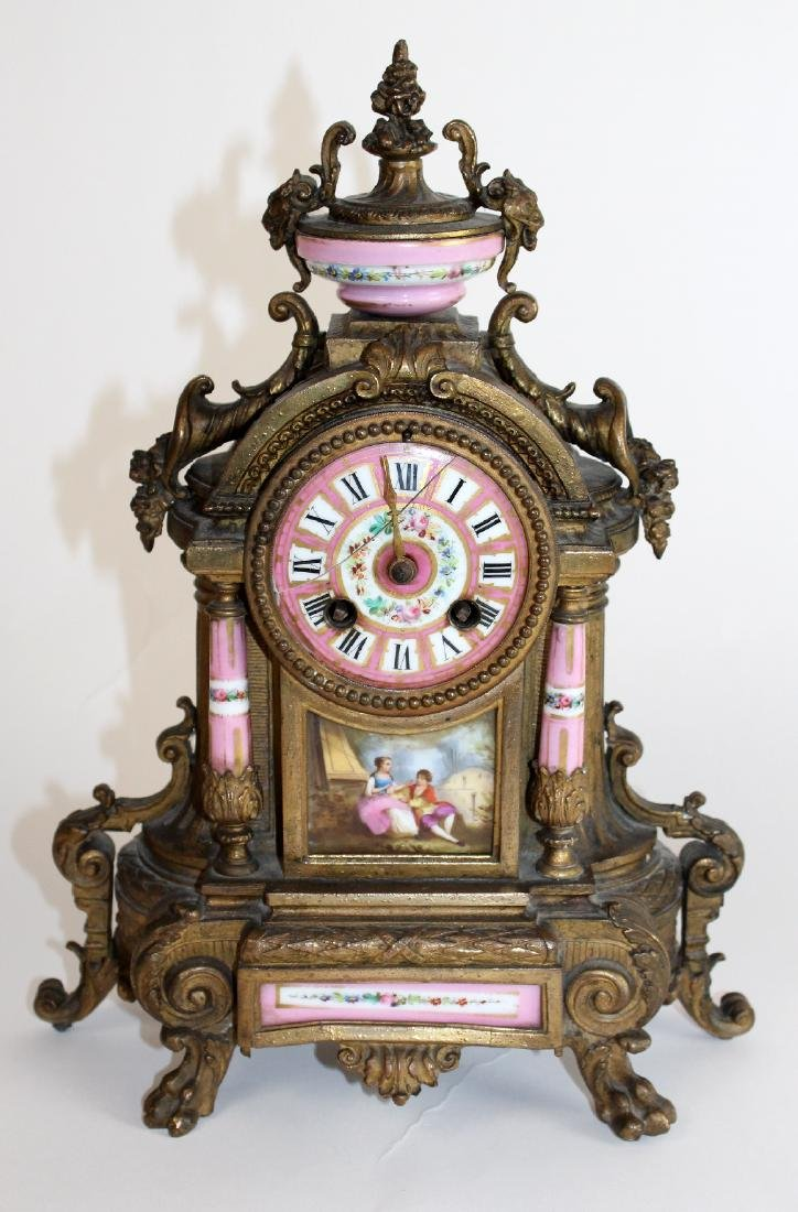 French Louis XV porcelain and bronze clock
