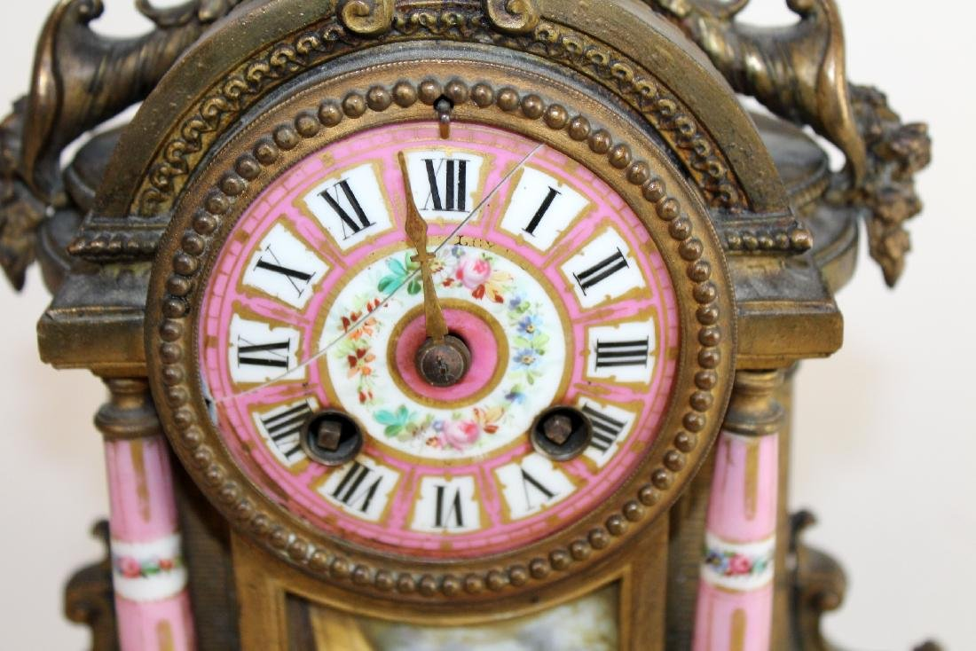 French Louis XV porcelain and bronze clock - 2