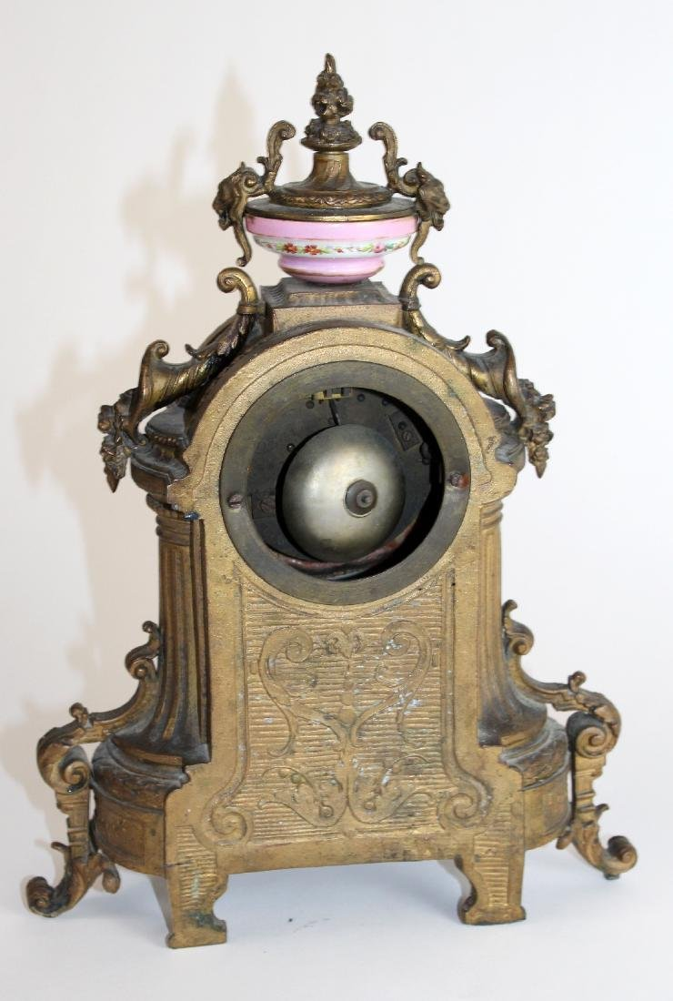 French Louis XV porcelain and bronze clock - 4