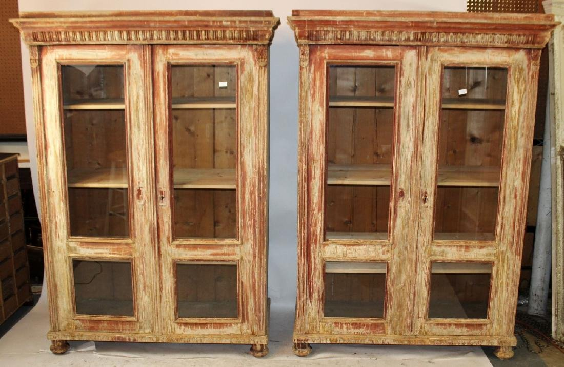 Pair of French, 19th century, 2 door bookcases.