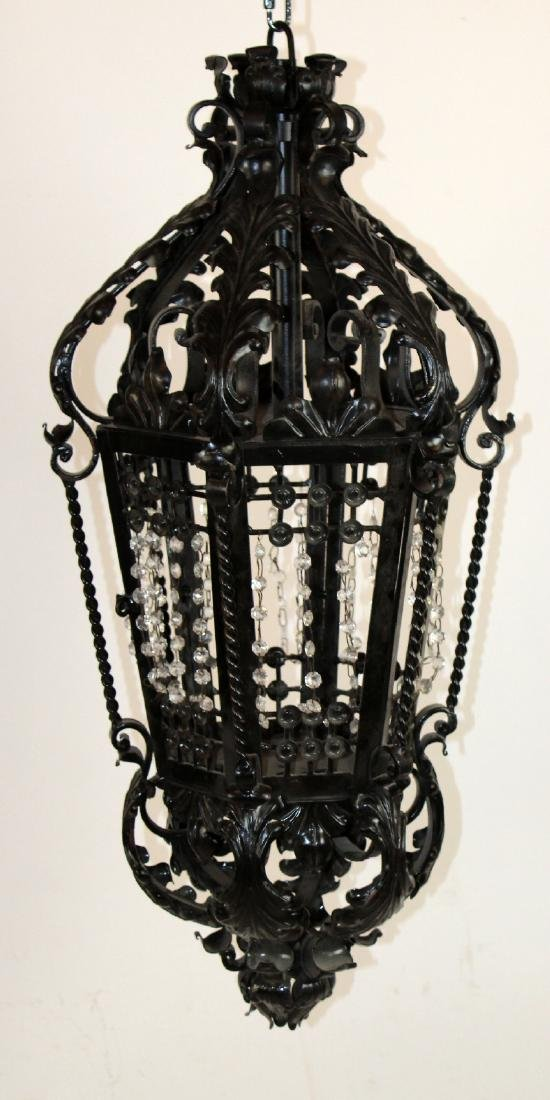 Painted black iron lantern with crystals