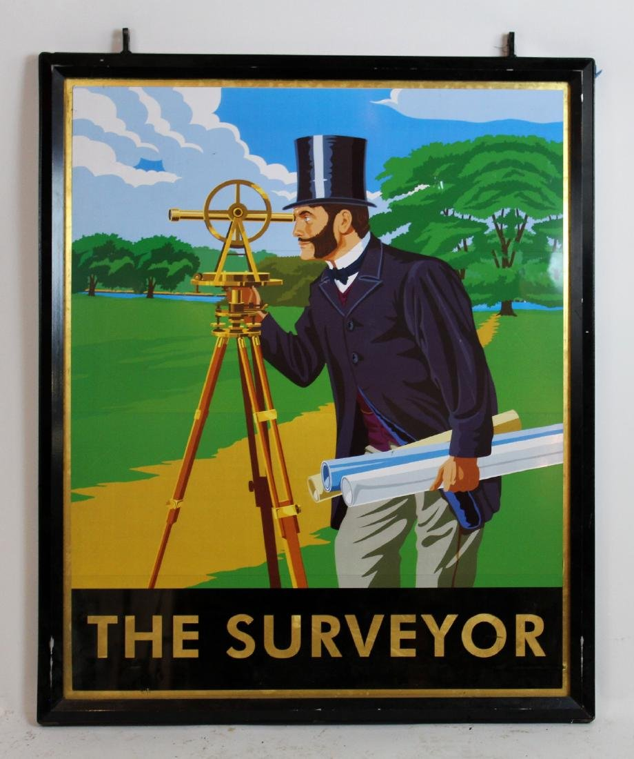 """The Surveyor"" English double sided pub sign"