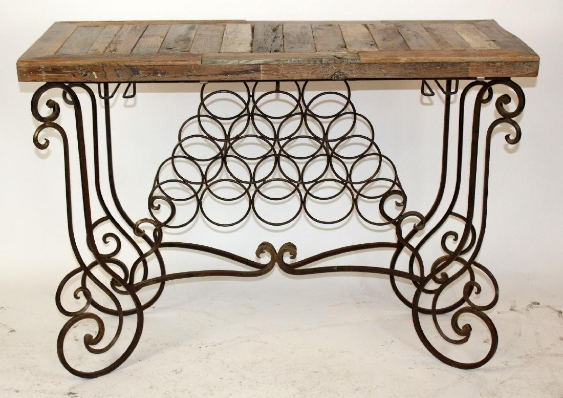 Rustic plank top wine console with scrolled iron base