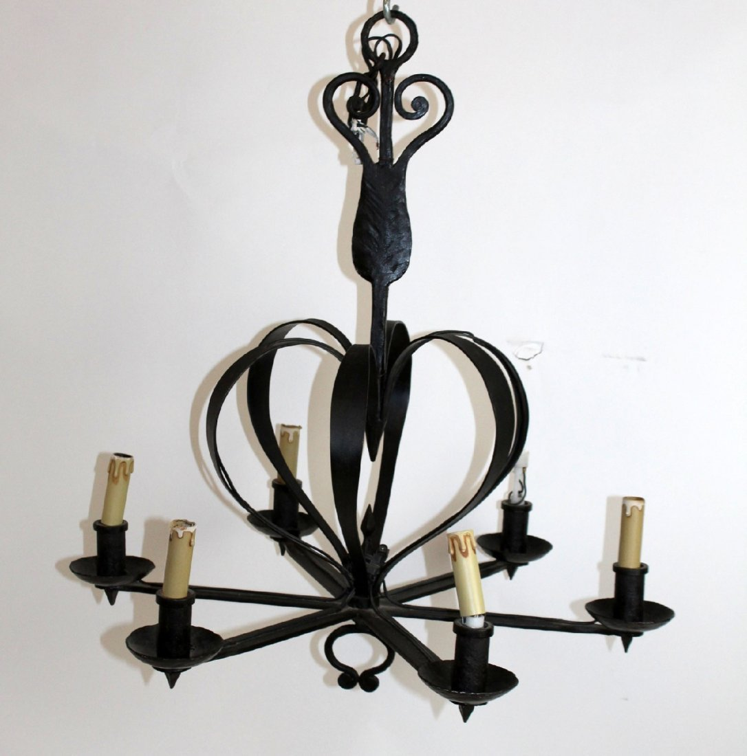 French hand forged 6-arm chandelier