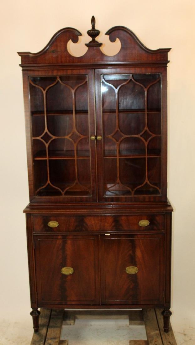 Flame mahogany bureau bookcase