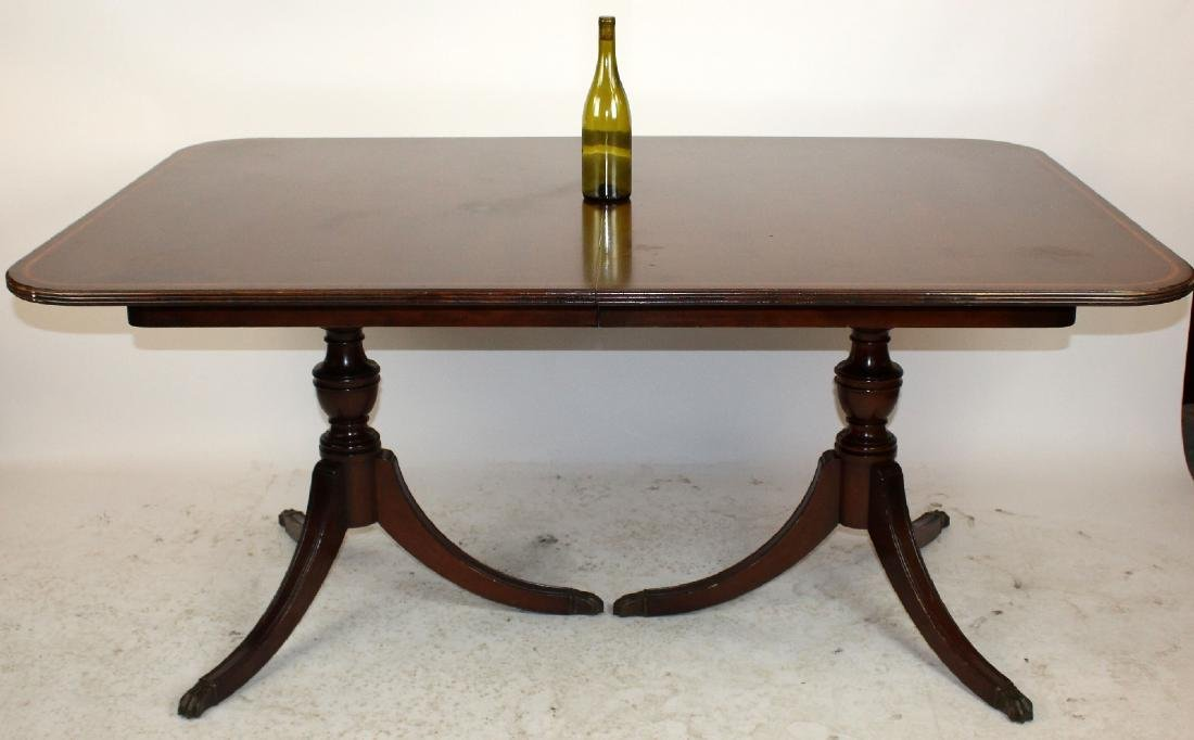 Double pedestal mahogany dining table - 6