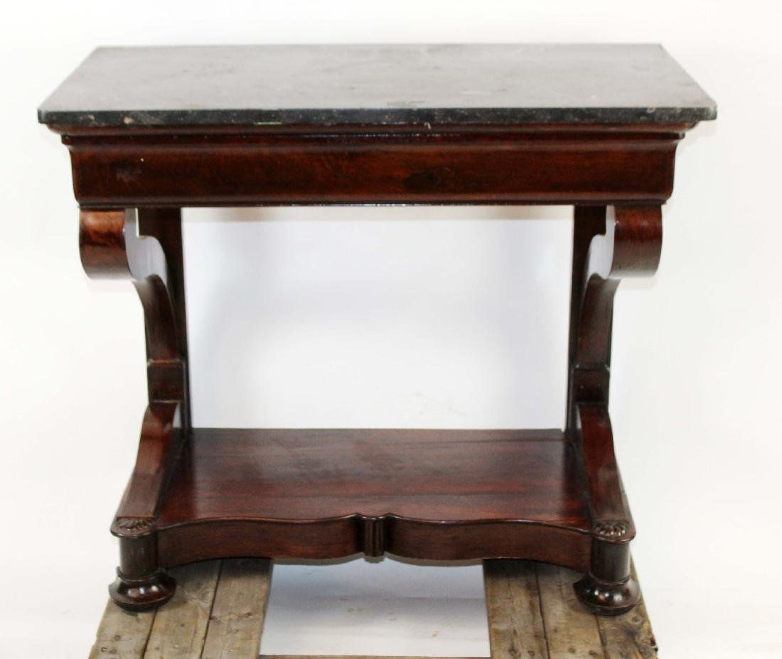 Directoire console in burled walnut with marble top