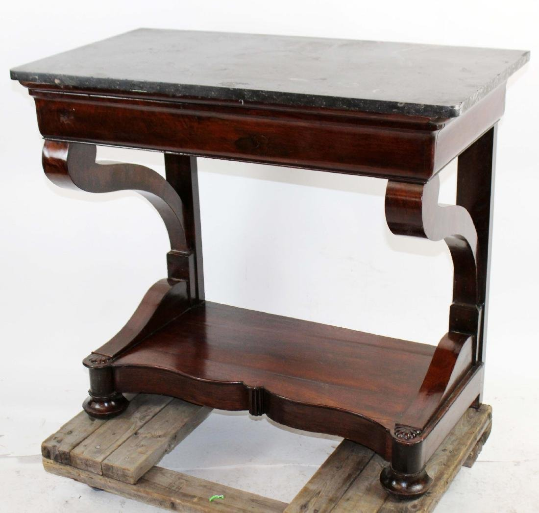 Directoire console in burled walnut with marble top - 2