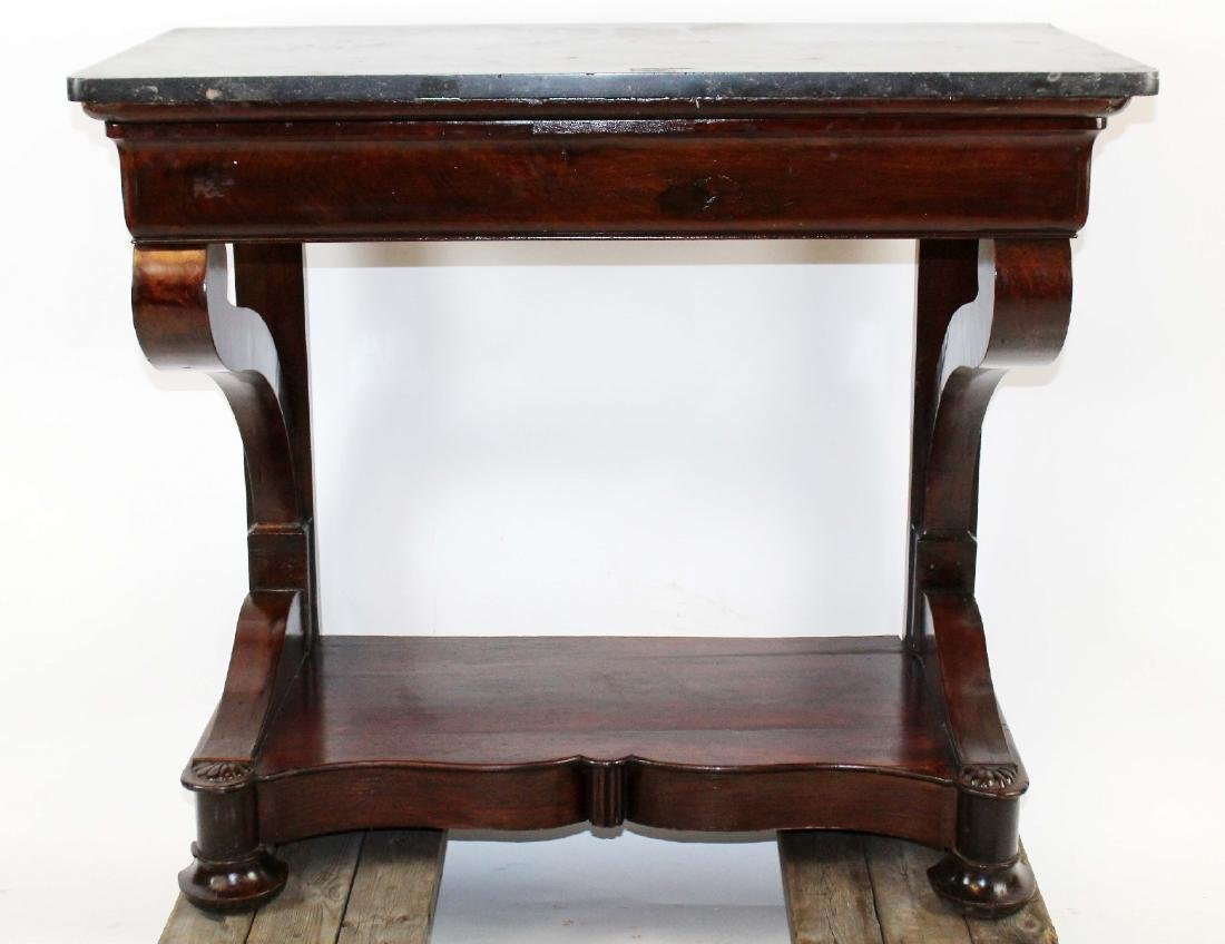 Directoire console in burled walnut with marble top - 3
