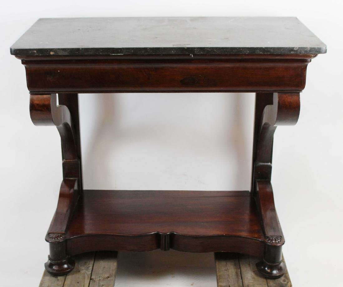 Directoire console in burled walnut with marble top - 4