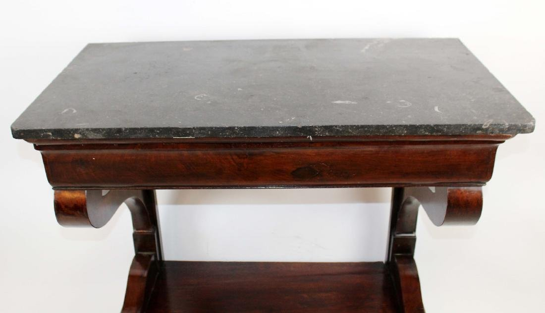 Directoire console in burled walnut with marble top - 5