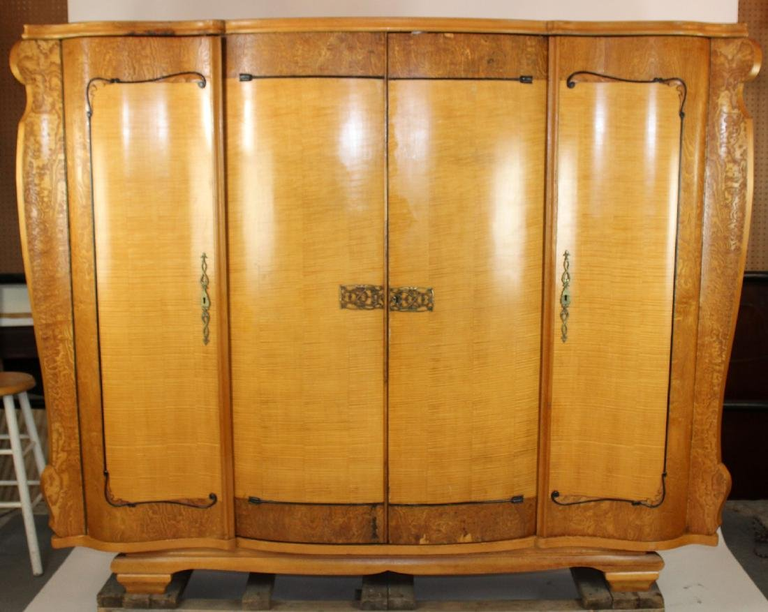 Art Deco 4 door armoire in birds eye maple