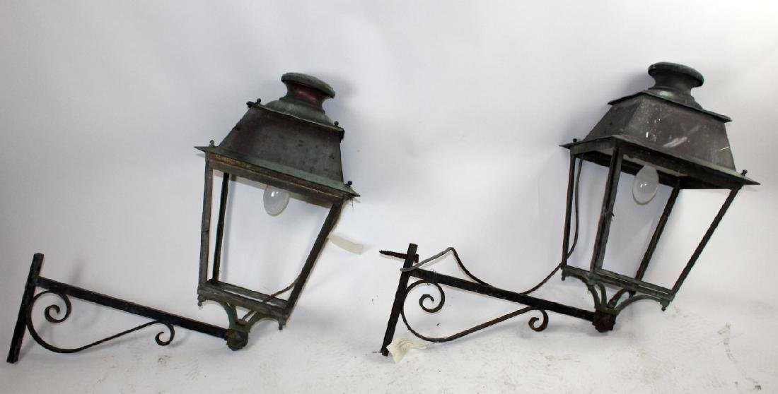 Pair of French copper lantern sconces