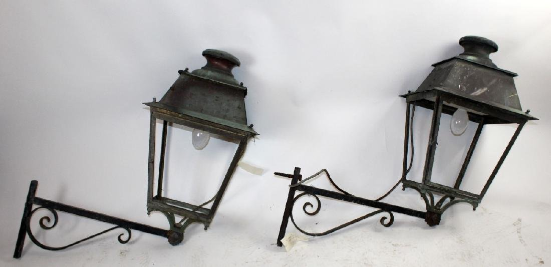 Pair of French copper lantern sconces - 2