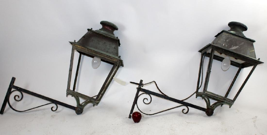 Pair of French copper lantern sconces - 3