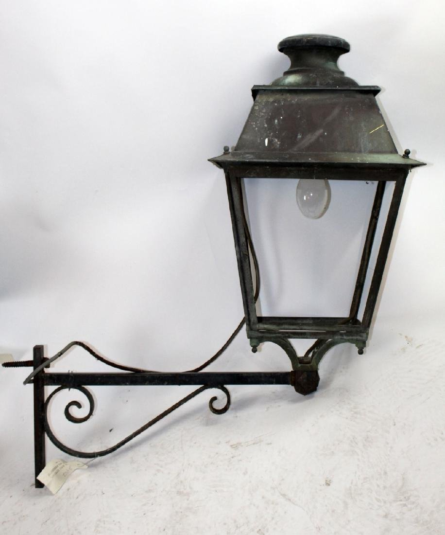 Pair of French copper lantern sconces - 4
