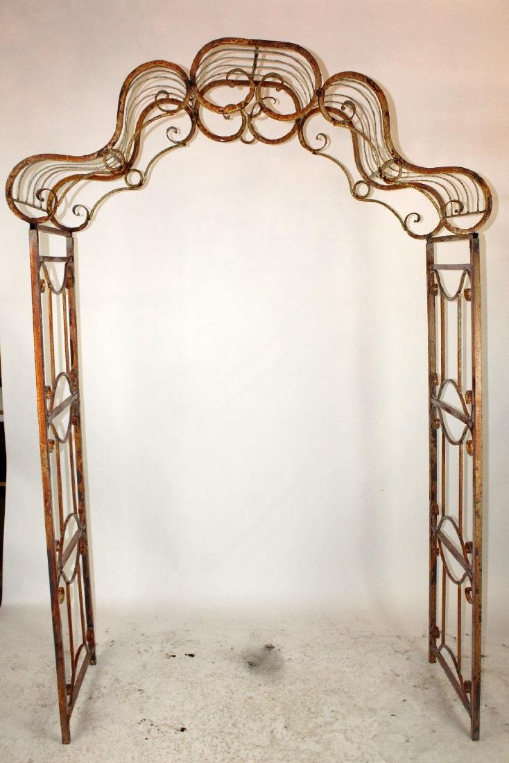 Painted iron shaped top garden arbor
