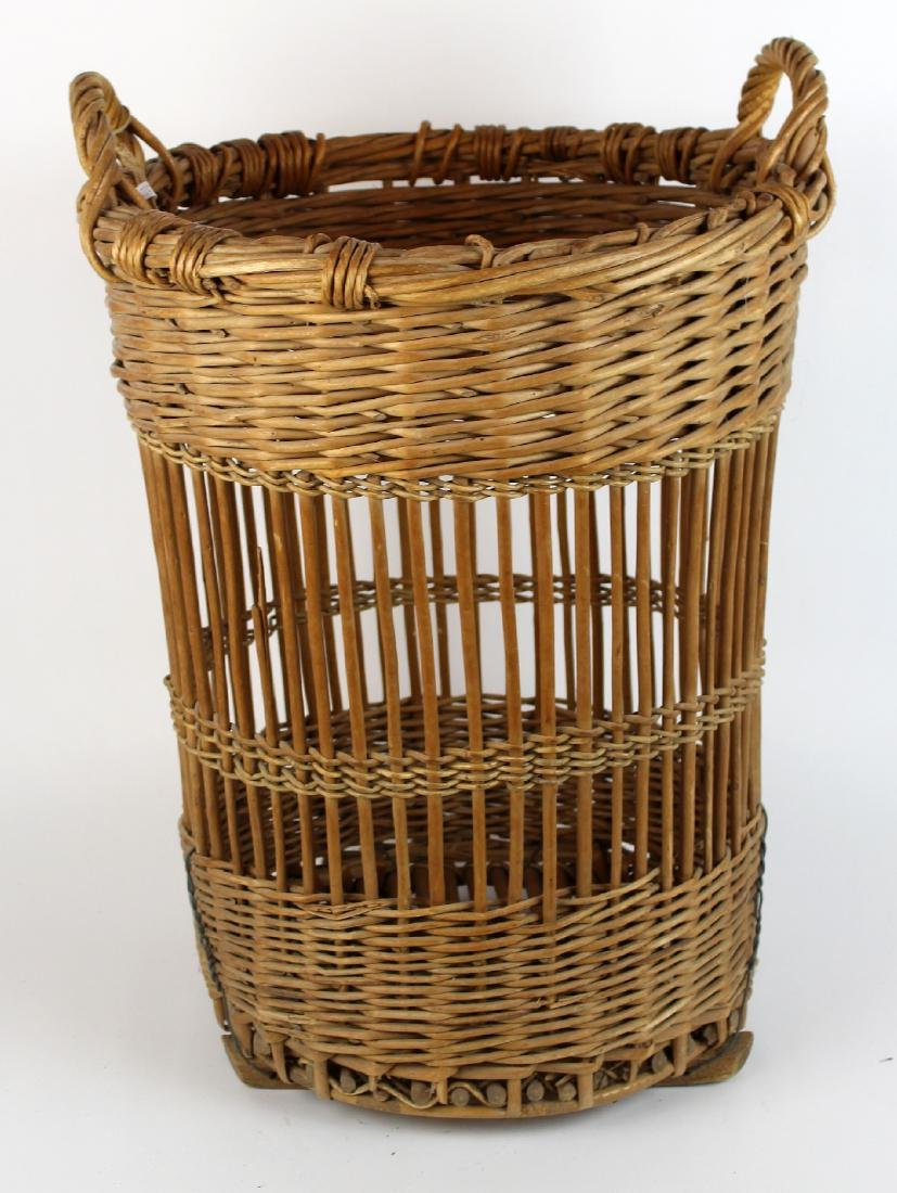 French wicker wine basket with handles