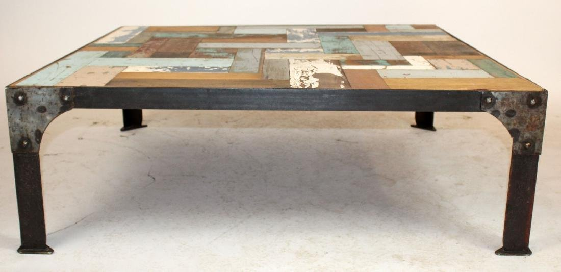 Iron base coffee table with patchwork style top