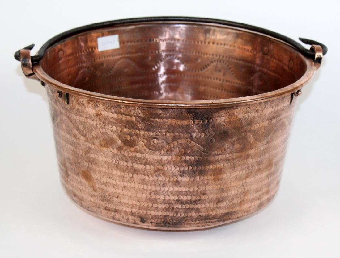 French hand hammered copper pot