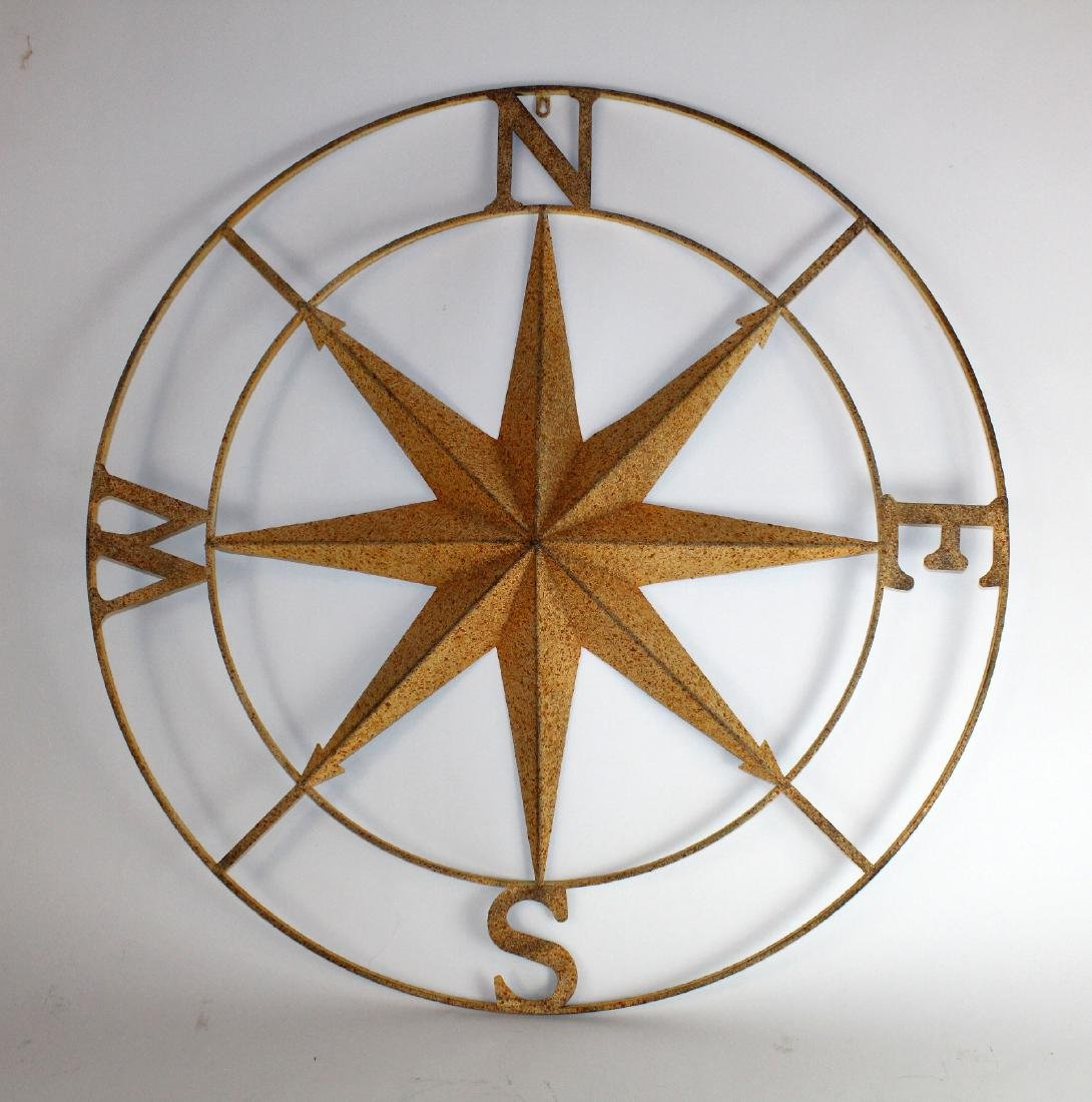 Painted metal compass rose
